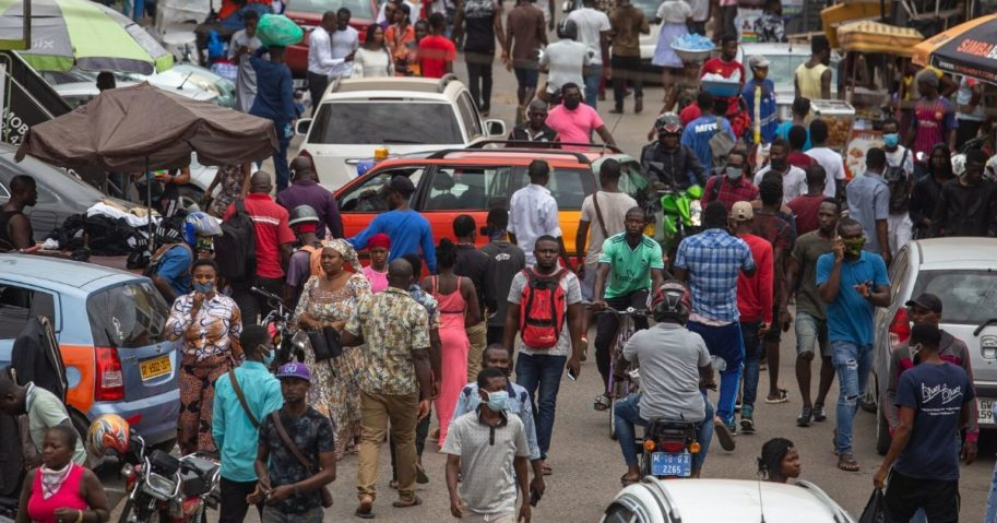 The crowded streets of Accra, Ghana, are pictured in an April file photo from right after a lockdown to control the coronavirus was lifted.