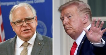 Minnesota Gov. Tim Walz, left; Presidend Donalt Trump, right.