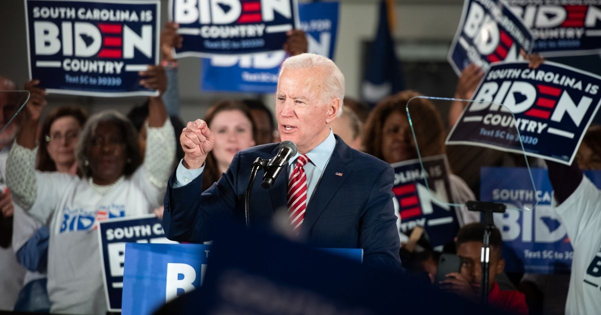 Former Vice President Joe Biden delivers a Feb. 11 speech before supporters in Columbia, South Carolina.