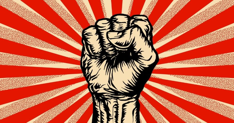 An illustration of the Marxist symbol of a raised fist.