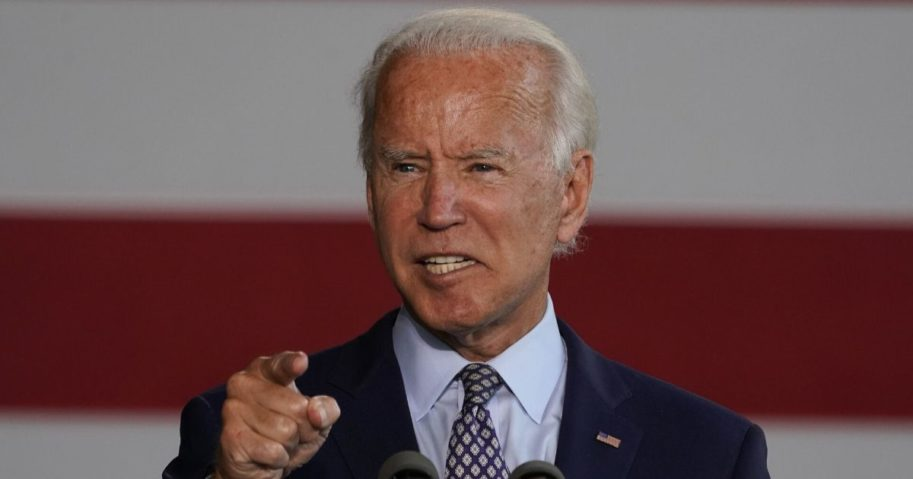 Former Vice President Joe Biden, the presumptive Democratic presidential nominee, gives a speech to workers after touring McGregor Industries in Dunmore, Pennsylvania, on July 9, 2020.