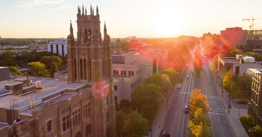 An aerial view of Marquette University is shown above.