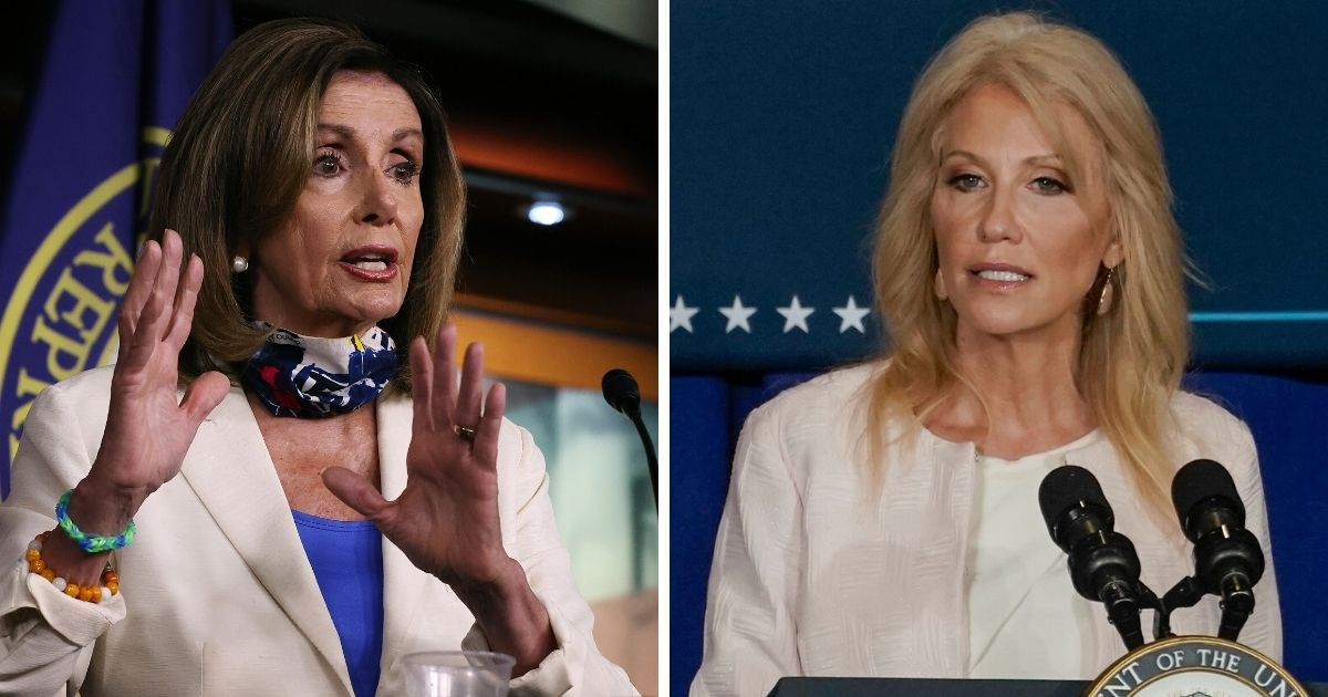 House Speaker Nancy Pelosi, left; and White House counselor Kellyanne Conway, right.