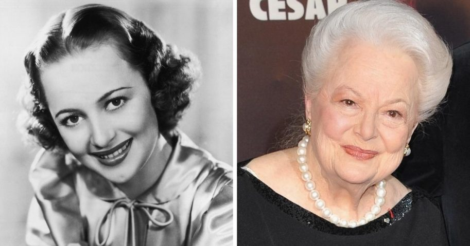 Legendary actress Olivia de Haviland in a 1937 studio promotional shot, left; and at the  36th French Cesar film awards ceremony in Paris in 2011, right.