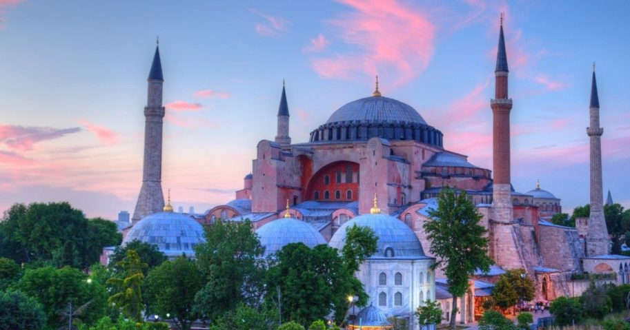The Hagia Sophia in Istanbul is pictured above.