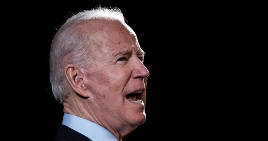 Former Vice President Joe Biden, the presumptive Democratic presidential nominee, delivers remarks about the coronavirus pandemic at the Hotel Du Pont on March 12, 2020, in Wilmington, Delaware.