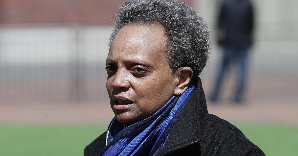 Chicago Mayor Lori Lightfoot speaks during a media briefing outside Wrigley Field on April 16, 2020, in Chicago.