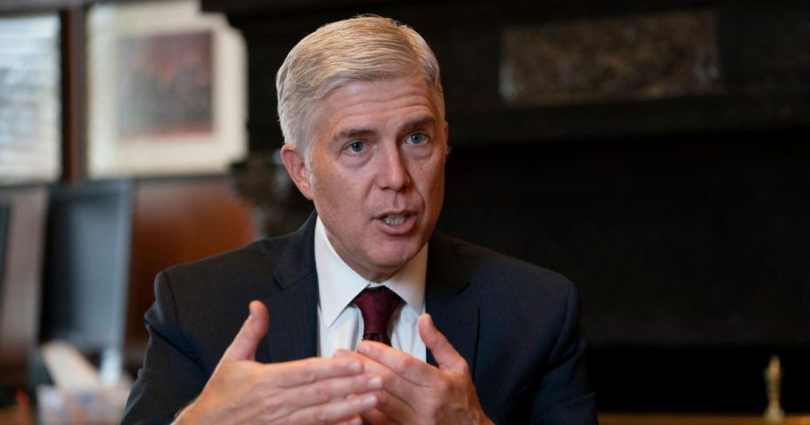 In this Sept. 4, 2019, file photo, Justice Neil Gorsuch speaks during an interview in his chambers at the Supreme Court in Washington, D.C.