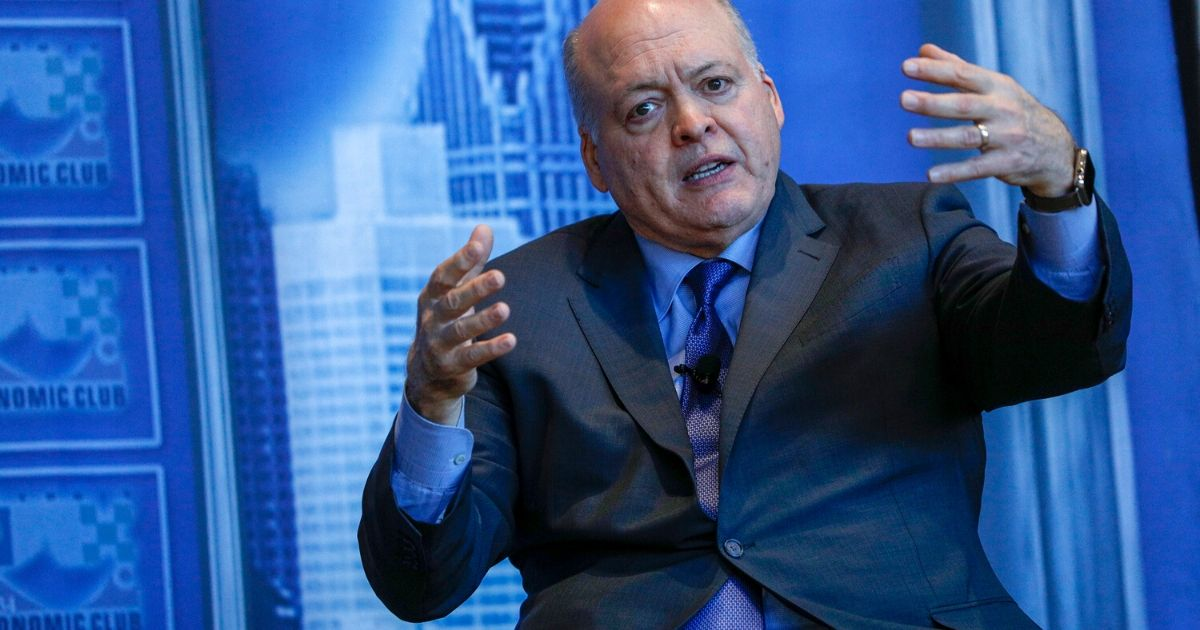Ford CEO Jim Hackett speaks at the Detroit Economic Club at Ford Field on April 9, 2019.