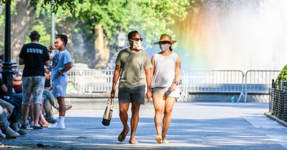 People wear masks in New York City on July 12, 2020. In Ohio, face coverings are now mandatory in seven counties.