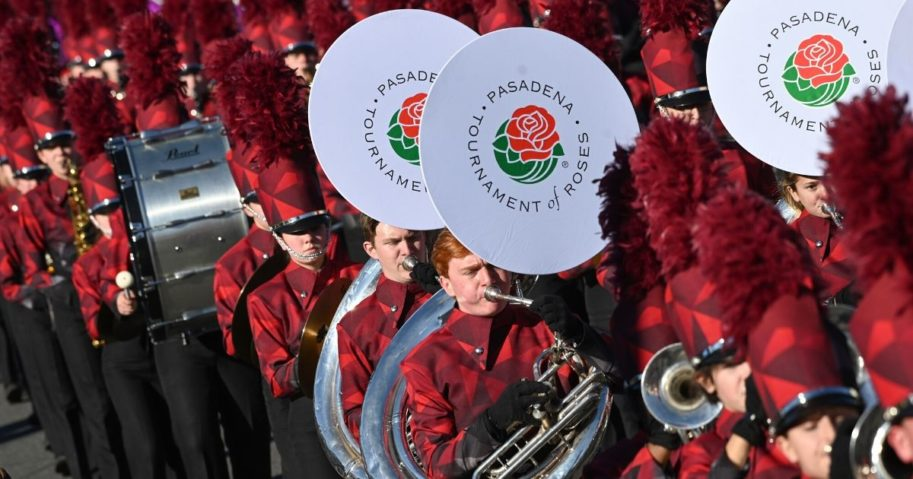 A marching band participates in the 131st Rose Parade in Pasadena, California, on Jan. 1, 2020. The parade features floral floats, marching bands and equestrian units to ring in the New Year. The 2021 parade already has been canceled.