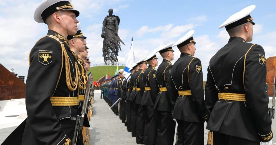 Servicemen stand in formation during a ceremony unveiling the Soviet Soldier Memorial near Rzhev on June 30, 2020.