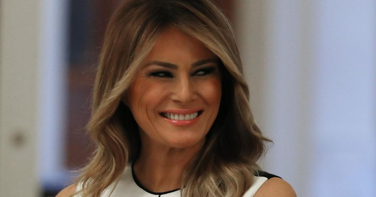 First lady Melania Trump participates in an event in the White House on July 7, 2020, with students, teachers and administrators about how to safely re-open schools during the coronavirus pandemic. Next up for the first lady: restoring the Rose Garden.