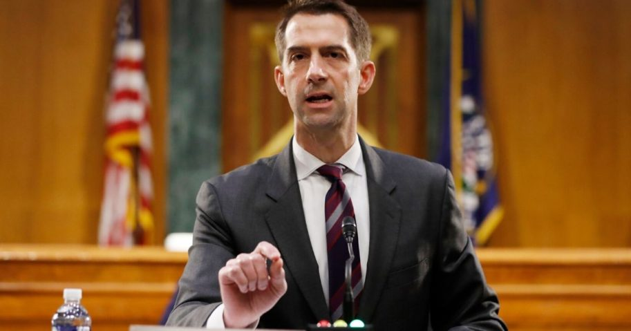 Republican Sen. Tom Cotton of Arkansas speaks during a Senate Intelligence Committee nomination hearing for Rep. John Ratcliffe of Texas on Capitol Hill in May 2020.