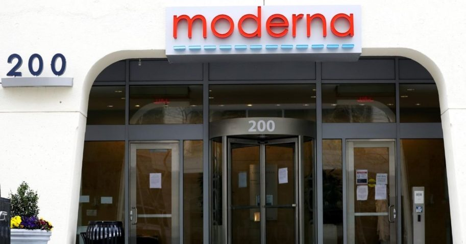 A view of the Moderna headquarters in Cambridge, Massachusetts, on May 8, 2020.