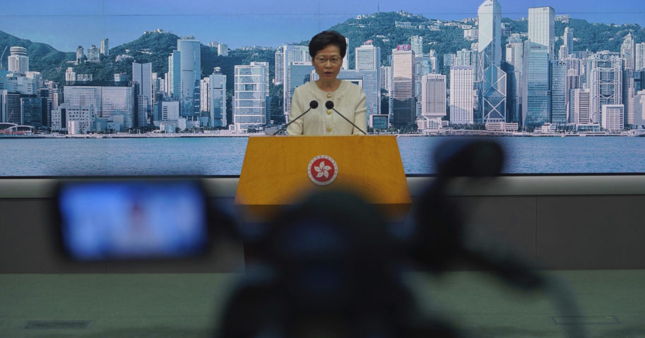 Hong Kong Chief Executive Carrie Lam listens to reporters' questions during a news conference in Hong Kong on July 7, 2020.