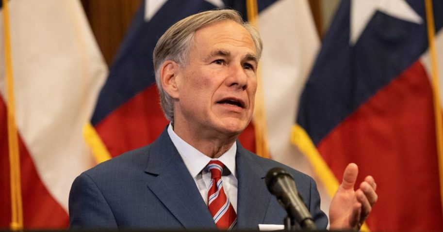 Texas Governor Greg Abbott speaks at a news conference at the Texas State Capitol in Austin on May 18, 2020.