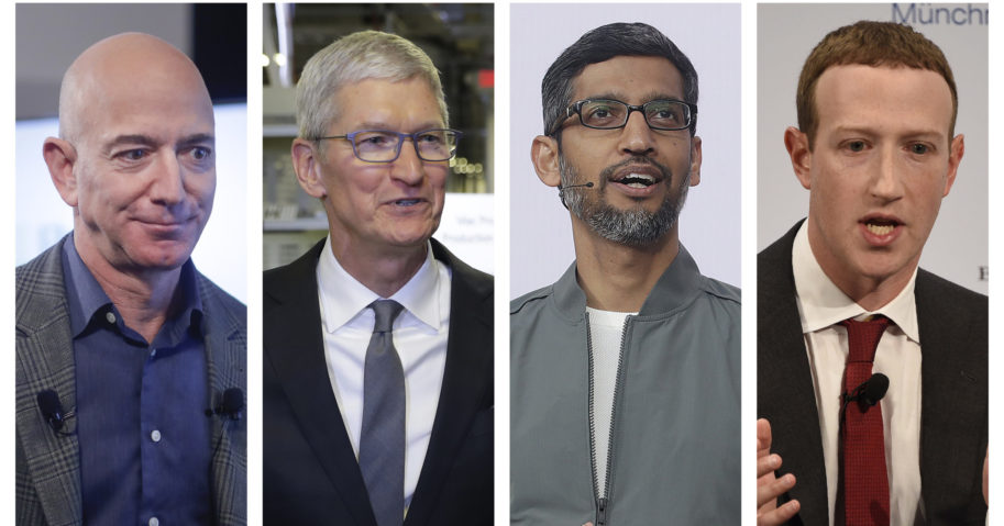 This combination of 2019-2020 photos shows Amazon CEO Jeff Bezos, Apple CEO Tim Cook, Google CEO Sundar Pichai and Facebook CEO Mark Zuckerberg. On July 29, 2020, the four big tech leaders will answer for their companies' practices before Congress at a House Judiciary subcommittee hearing on antitrust.