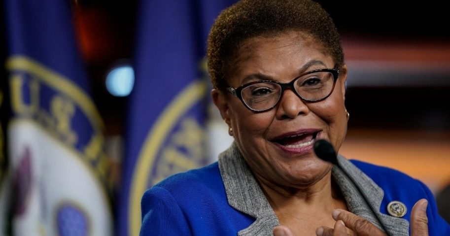 Chair of the Congressional Black Caucus Rep. Karen Bass speaks during a news conference on July 22, 2020, in Washington, D.C.