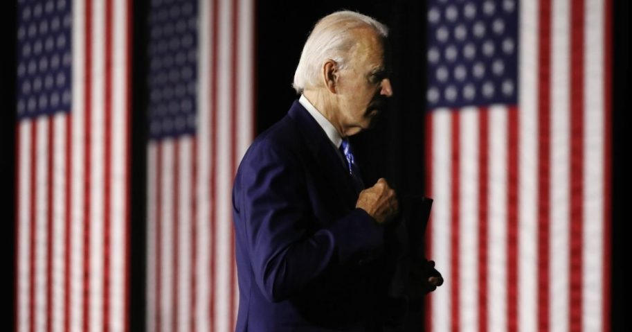 Democratic presidential candidate Joe Biden leaves after speaking at the Chase Center on July 14, 2020, in Wilmington, Delaware.