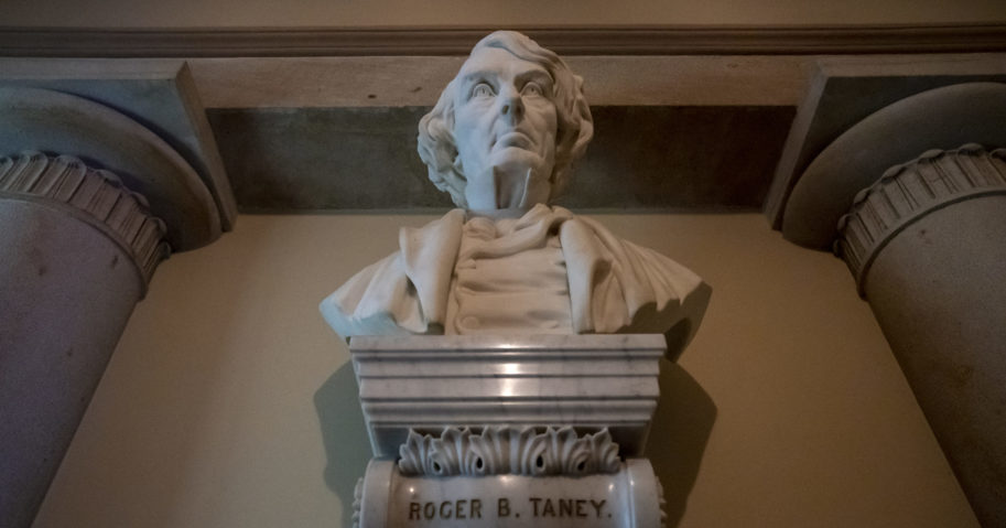 In this March 9, 2020, file photo, a marble bust of Chief Justice Roger Taney is displayed in the Old Supreme Court Chamber in the U.S. Capitol in Washington, D.C. The House will vote on July 22 on whether to remove the bust.
