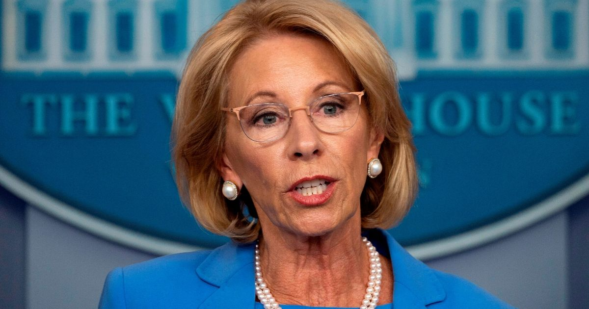 Secretary of Education Betsy Devos speaks during a news conference at the White House on March 27, 2020, in Washington, D.C.