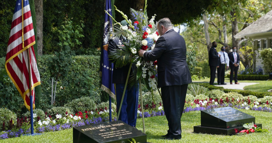 Secretary of State Mike Pompeo lays a wreath at the Richard Nixon Presidential Library on July 23, 2020, in Yorba Linda, California.
