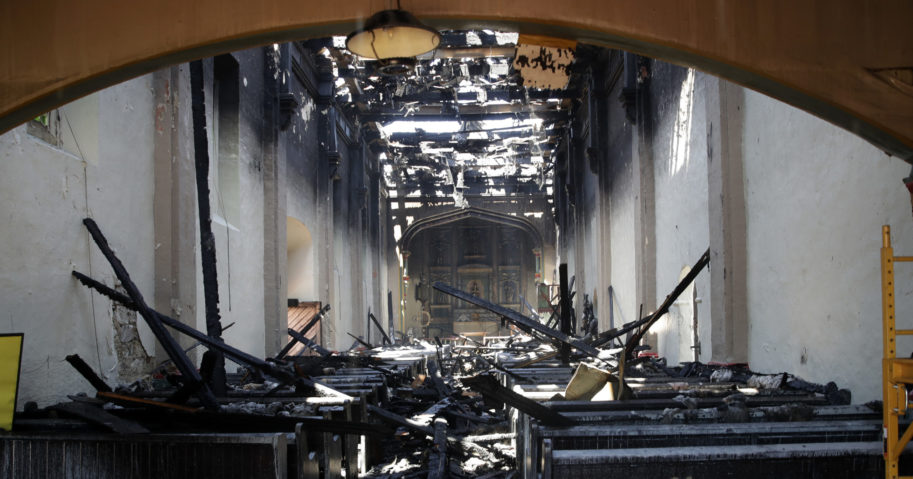 The interior of the San Gabriel Mission is damaged following a fire on July 11, 2020, in San Gabriel, California. The fire destroyed the rooftop and most of the interior of the nearly 250-year-old California church.