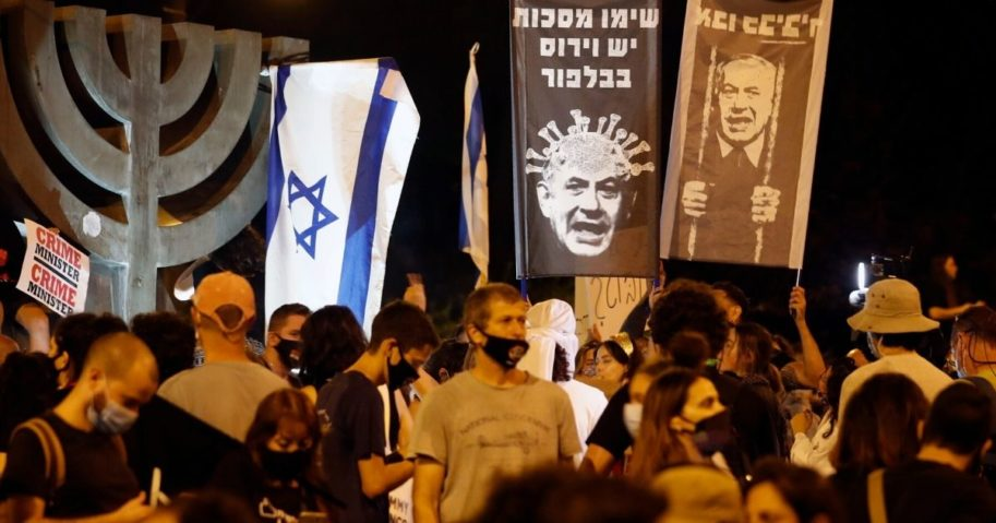 Israelis protest against Prime Minister Benjamin Netanyahu in Jerusalem on July 21, 2020.