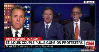 "CNN's Chris Cuomo intervews St. Louis homeowner Mark McCloskey, center, and McCloskey attorney Albert Watkins, right, on ""Cuomo Prime Time"" Tuesday."