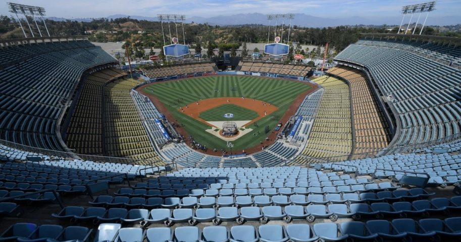 Dodger Stadium is seen on Aug. 3, 2019, in Los Angeles, California.