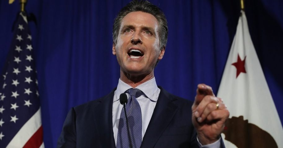 Gavin Newsom speaks during his primary election night gathering on June 5, 2018, in San Francisco, California.