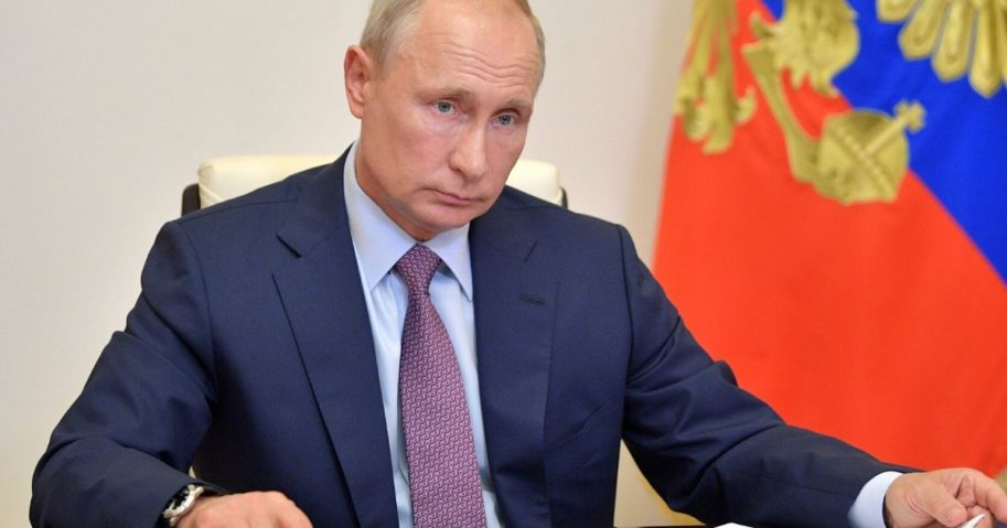 Russian President Vladimir Putin chairs a video meeting outside Moscow on July 2, 2020, as he thanked Russians after a nationwide vote approved controversial constitutional reforms that allow him to extend his rule until 2036.