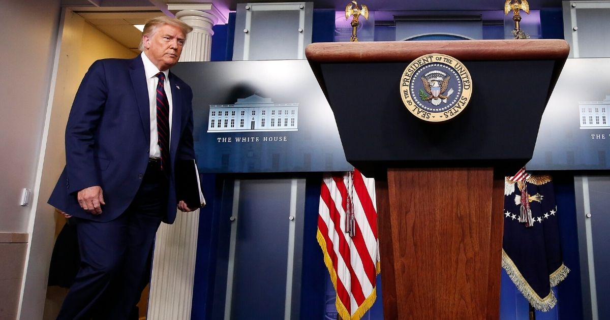 President Donald Trump walks to the podium to begin a news conference at the White House on July 21, 2020, in Washington, D.C.