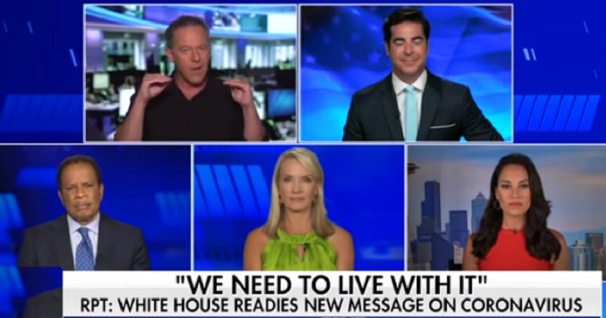 """Greg Gutfeld is animated and Juan Williams looks pained in a photo showing individual shots of the panel on """"The Five."""""""