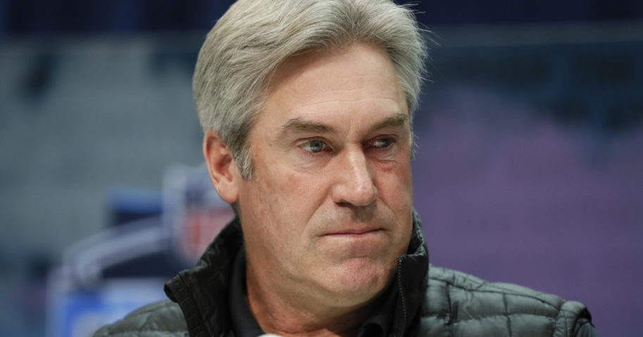 Philadelphia Eagles coach Doug Pederson speaks during a news conference at the NFL scouting combine in Indianapolis on Feb. 25, 2020.