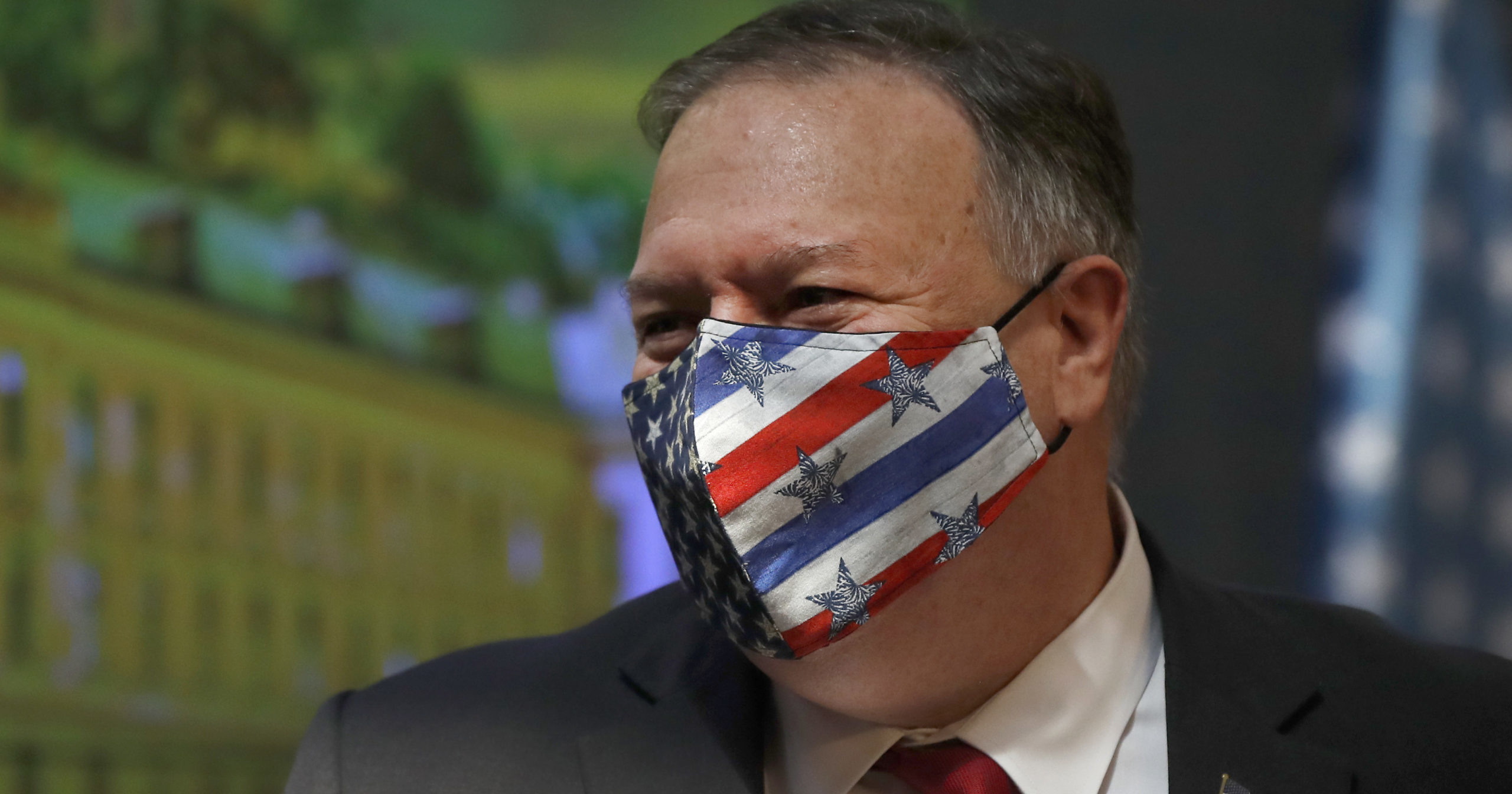 Secretary of State Mike Pompeo wears a face mask during a joint news conference with Czech Republic Prime Minister Andrej Babis in Prague, Czech Republic, on Aug. 12, 2020. Pompeo is in the Czech Republic at the start of a four-nation tour of Europe.