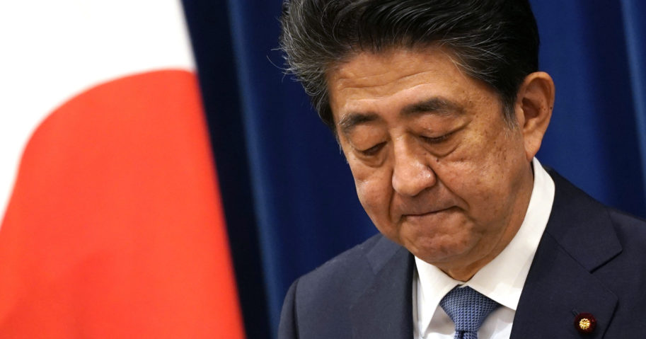 Japanese Prime Minister Shinzo Abe speaks during a news conference in Tokyo on Aug. 28, 2020. Abe, Japan's longest-serving prime minister, says he's resigning because a chronic illness has resurfaced.