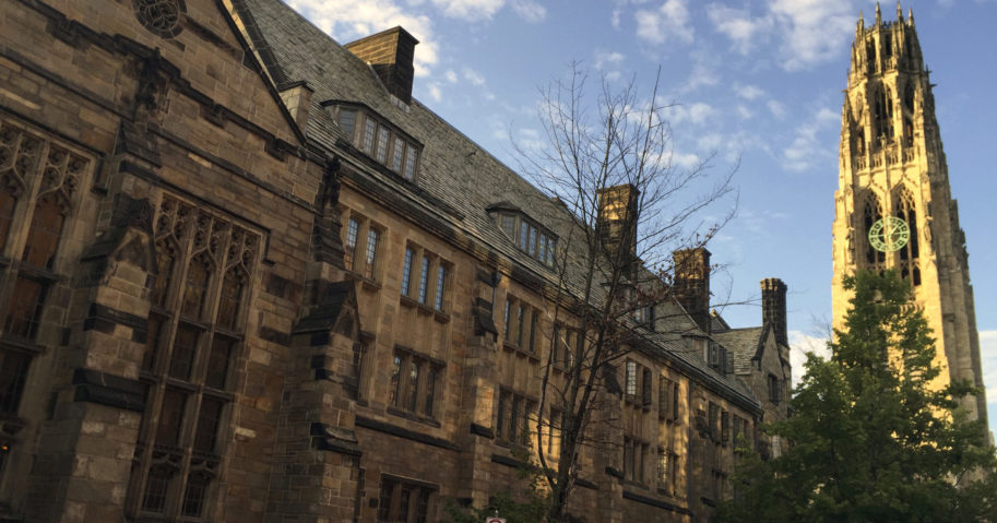 This Sept. 9, 2016, photo shows Harkness Tower on the campus of Yale University in New Haven, Connecticut. A Justice Department investigation has found Yale University is illegally discriminating against Asian-American and white applications, officials said on Aug. 13, 2020.