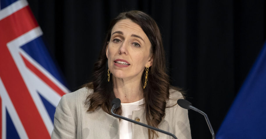 New Zealand Prime Minister Jacinda Ardern reacts during a news conference in Wellington, New Zealand, on Aug. 14, 2020.