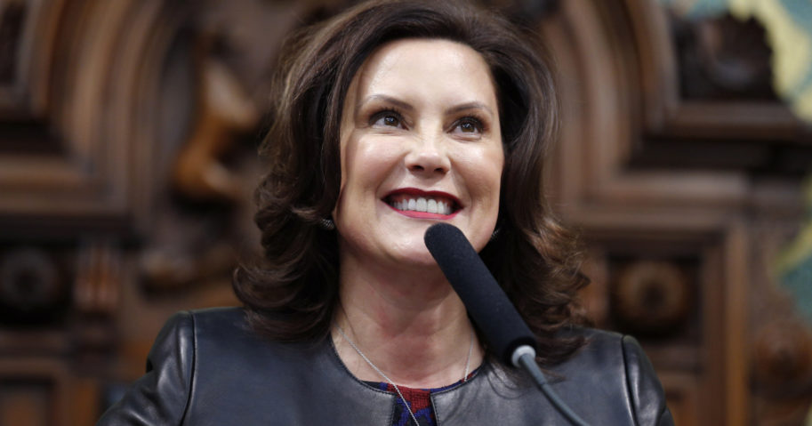 In this Jan. 29, 2020, file photo, Michigan Gov. Gretchen Whitmer speaks at the state Capitol in Lansing, Michigan.