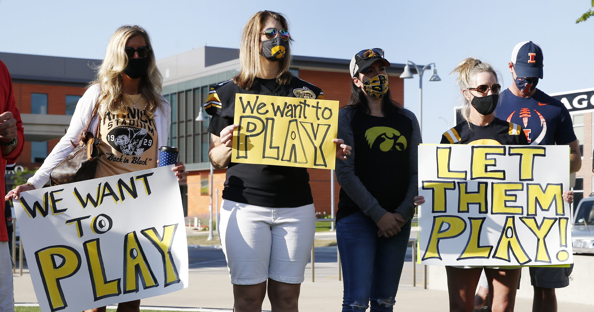 University of Iowa football players' parents protest outside Big Ten headquarters in Rosemont, Illinois, on Aug. 21, 2020.