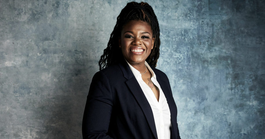 """In this Jan. 27, 2019, file photo, Cori Bush poses for a portrait to promote the film """"Knock Down the House"""" at the Salesforce Music Lodge during the Sundance Film Festival in Park City, Utah. Bush ousted longtime Rep. William Lacy Clay on Tuesday in Missouri's Democratic primary, ending a political dynasty that has spanned more than a half-century. Bush's victory came in a rematch of 2018, when she failed to capitalize on a national Democratic wave that favored political newcomers such as Bush's friend, Rep. Alexandria Ocasio-Cortez."""