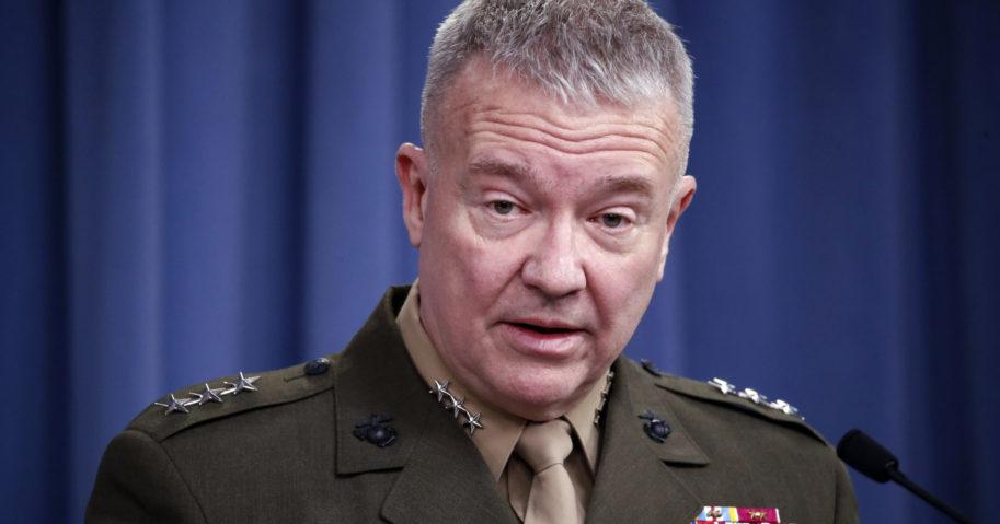 "In this April1 14, 2018, file photo, then-Marine Lt. Gen. Kenneth ""Frank"" McKenzie speaks to media at the Pentagon in Washington, D.C."
