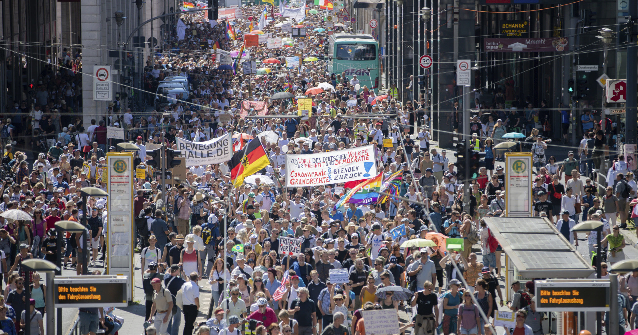 Thousands march during the demonstration against coronavirus restrictions in Berlin, Germany, on Aug. 1, 2020.