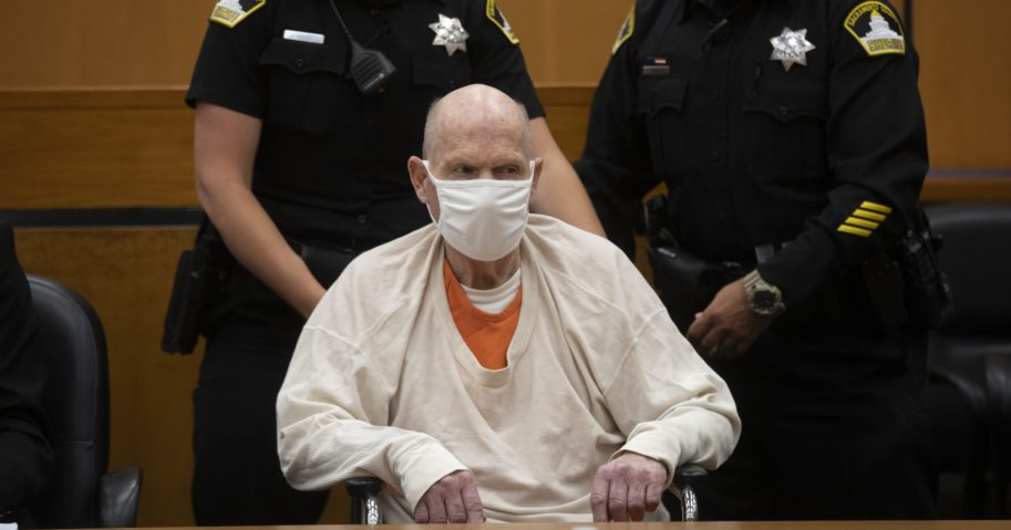 Joseph James DeAngelo is brought out of the courtroom at the Gordon D. Schaber Sacramento County Courthouse on Aug. 20, 2020, in Sacramento, California. DeAngelo, who eluded capture for four decades before being identified as the Golden State Killer, pleaded guilty in June to 13 murders and 13 rape-related charges stemming from crimes in the 1970s and 1980s. DeAngelo was sentenced to life in prison on Aug. 21, 2020.