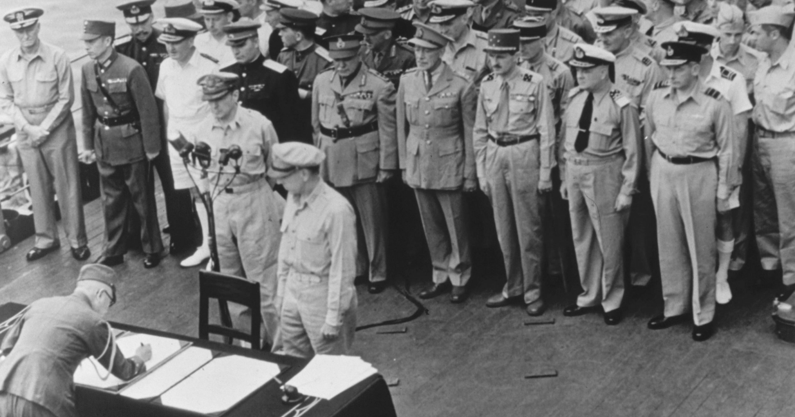 Gen. Douglas MacArthur, Supreme Allied Commander, and Gen. Wainwright witness the formal Japanese surrender aboard the USS Missouri in Tokyo Bay on Sept. 2, 1945. Several dozen U.S. veterans will gather on the battleship in Pearl Harbor in September to mark the 75th anniversary of Japan's surrender.