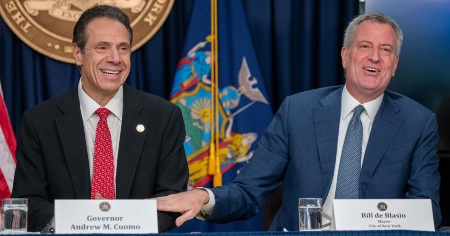 New York state Gov. Andrew Cuomo, left, and New York City Mayor Bill DeBlasio speak during a news conference on March 2, 2020, in New York City.
