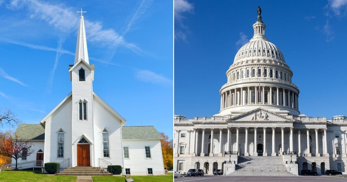At left is a rural church near Akron, Ohio; at right is the U.S. Capitol in Washington.