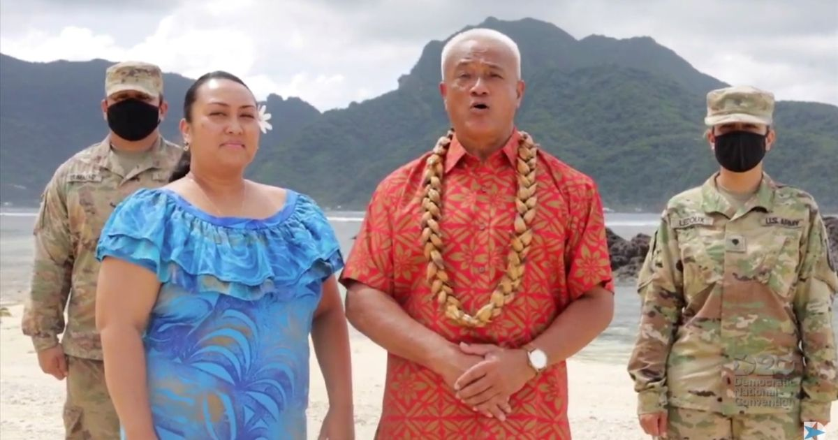 The Democratic delegation from American Samoa speaks at the 2020 Democratic National Convention.